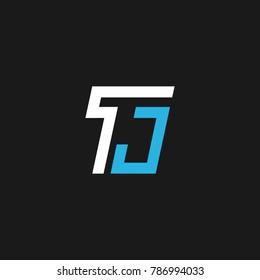 TJ letter logo or T J initials design in vector format.