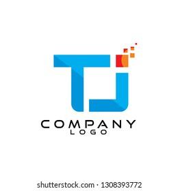 tj/jt  letter tech/ict and it logo design vector
