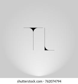 TL Black thin minimalist LOGO Design with Highlight on Gray background.
