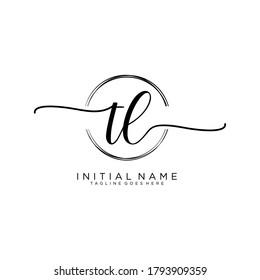 TL Initial handwriting logo vector