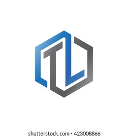 TL initial letters looping linked hexagon logo black gray blue