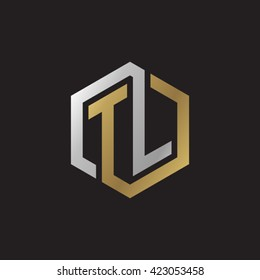 TL initial letters looping linked hexagon elegant logo golden silver black background