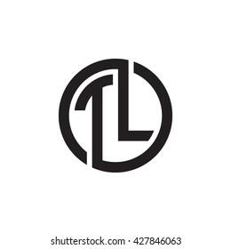 TL initial letters looping linked circle monogram logo
