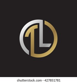 TL initial letters looping linked circle elegant logo golden silver black background