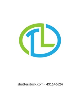 TL initial letters looping linked ellipse logo blue green