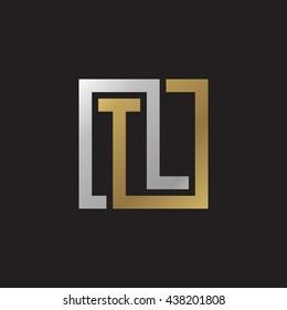 TL initial letters looping linked square elegant logo golden silver black background