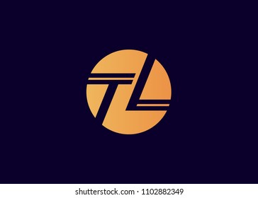 TL Initial Logo designs with circle background