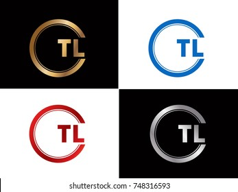 TL Letter logo Design in a circle. Blue Red and silver gold colored