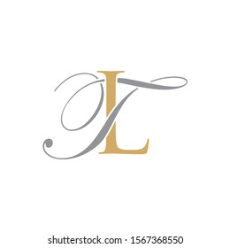 TL or LT Initial logo Capital Letters Gold and Grey colors