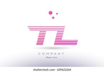 tl t l alphabet letter logo pink purple stripes lines creative text dots company vector icon design template