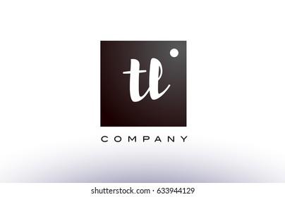 TL T L black white handwritten handwriting alphabet company letter logo square design template dot dots creative abstract