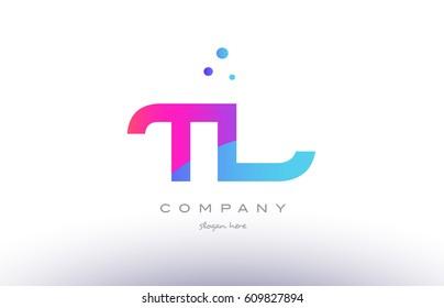 tl t l  creative pink purple blue modern dots creative alphabet gradient company letter logo design vector icon template
