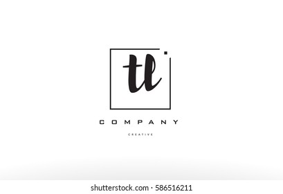 tl t l hand writing written black white alphabet company letter logo square background small lowercase design creative vector icon template tl t l