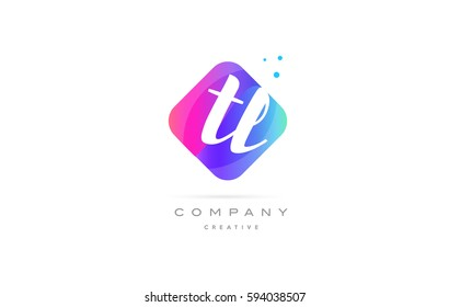 tl t l  pink blue rhombus abstract 3d alphabet company letter text logo hand writting written design vector icon template