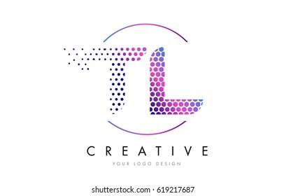 TL T L Pink Magenta Dotted Bubble Letter Logo Design. Dots Lettering Vector Illustration
