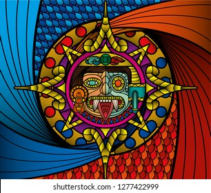 Tlaloc god of the rain and Tonatiuh, god of the sun, together as one, prehispanic ying yang of fire and water