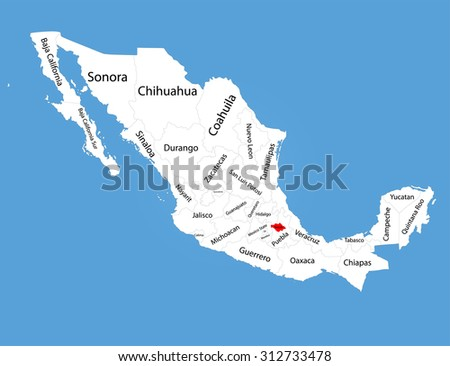 Tlaxcala Mexico Vector Map Silhouette Isolated Stock Vector Royalty