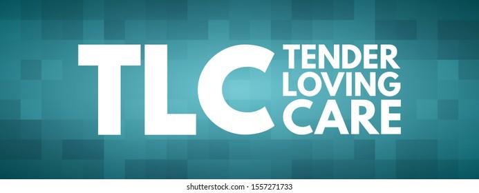 TLC - Tender Loving Care acronym, concept background