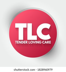 TLC - Tender Loving Care acronym, concept background
