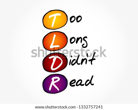 TLDR Long Didnt Read Acronym Business Stock Vector (Royalty Free