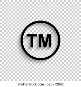 tm - black vector  icon with shadow