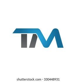TM company linked letter logo blue