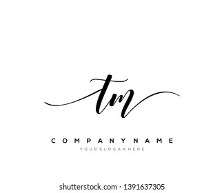 TM handwriting initial  logo vector