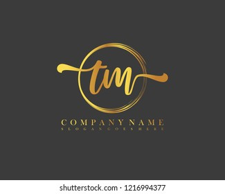 TM initial handwriting logo circle template vector