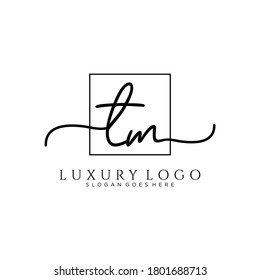 TM Initial handwriting logo template vector
