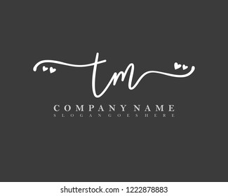 TM Initial handwriting logo vector