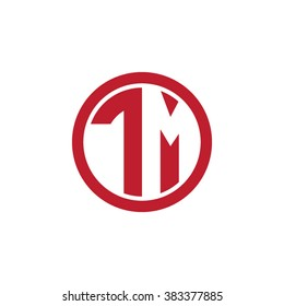 TM initial letters circle business logo red