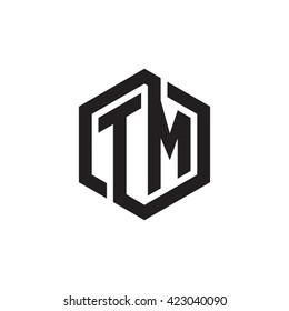 TM initial letters looping linked hexagon monogram logo