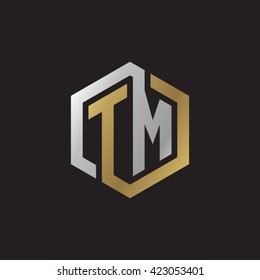 TM initial letters looping linked hexagon elegant logo golden silver black background