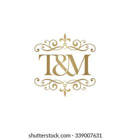 T&M Initial logo. Ornament ampersand monogram golden logo