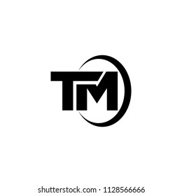 tm letter logo vector with circle