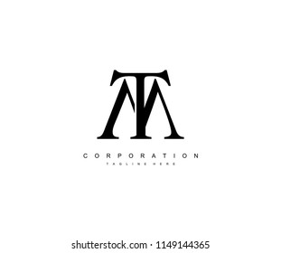 TM Letter Unique Minimal Monogram Linked Logotype