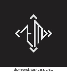 TM Logo Abstrac letter Monogram with Arrow in every side isolated on black background