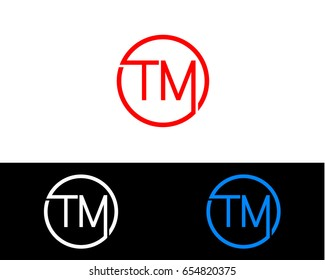 Tm Logo. Letter Design Vector with Red and Black Gold Silver Colors