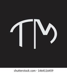 TM Logo letter oval monogram design template with black and white colors