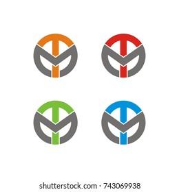 TM logo or MT logo initial letter design template vector