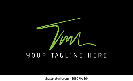 TM monogram logo.Signature style typographic icon with script letter t and letter m.Lettering sign isolated on black background.Calligraphic hand drawn alphabet initials.Modern,elegant style.