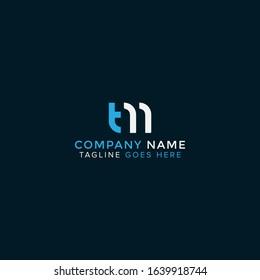 TM or MT logo initial letter design template vector