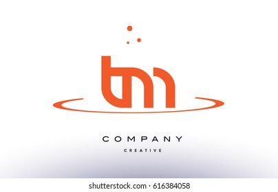 TM T M creative orange swoosh dots alphabet company letter logo design vector icon template