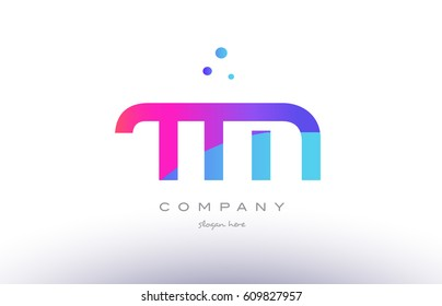 tm t m  creative pink purple blue modern dots creative alphabet gradient company letter logo design vector icon template