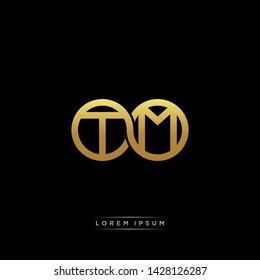 TM T M initial letter linked circle capital monogram logo modern template