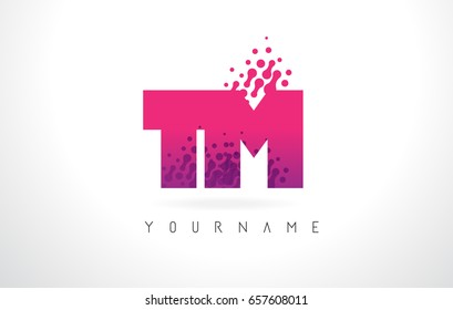 TM T M Letter Logo with Pink Letters and Purple Color Particles Dots Design.