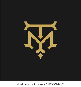 TM T M MT logo letter logotype icon font monogram, elegant classic vintage retro style gold letter logo design