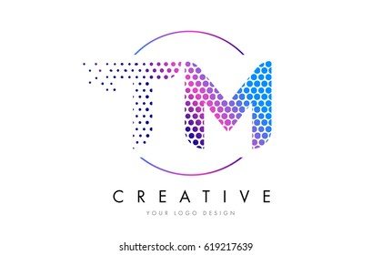 TM T M Pink Magenta Dotted Bubble Letter Logo Design. Dots Lettering Vector Illustration