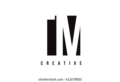 TM T M White Letter Logo Design with Black Square Vector Illustration Template.