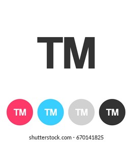 TM - Trade Mark sign isolated on white background. Button with symbol for your design. Vector illustration, easy to edit.